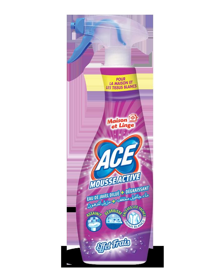 ACE Spray Mousse Active eau de javel et dégraissant pour la maison et détachant avant lavage pour le linge