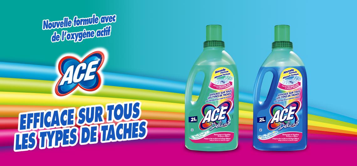 ACE Délicat, sur les tissus colorés et délicats, la véritable propreté à chaque lessive
