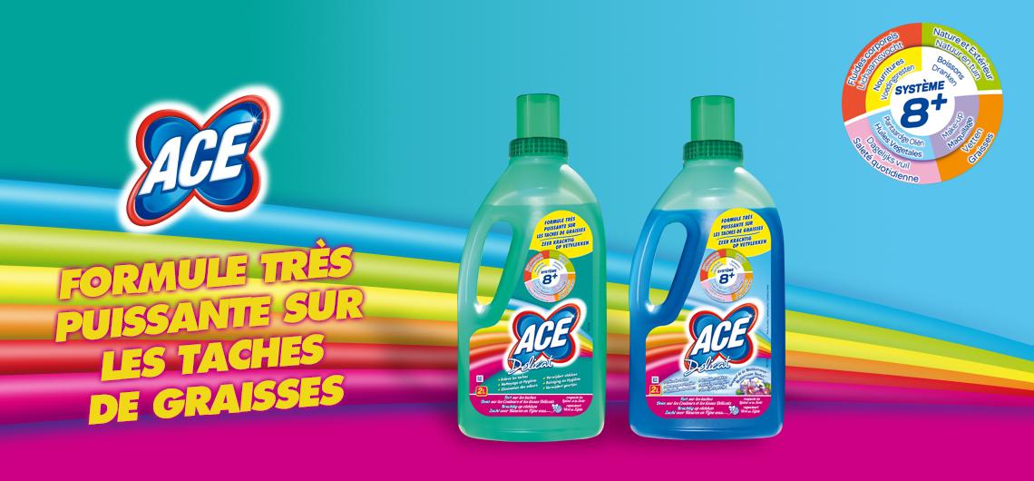 ACE Gentile, sur les tissus colorés et délicats, la véritable propreté à chaque lessive