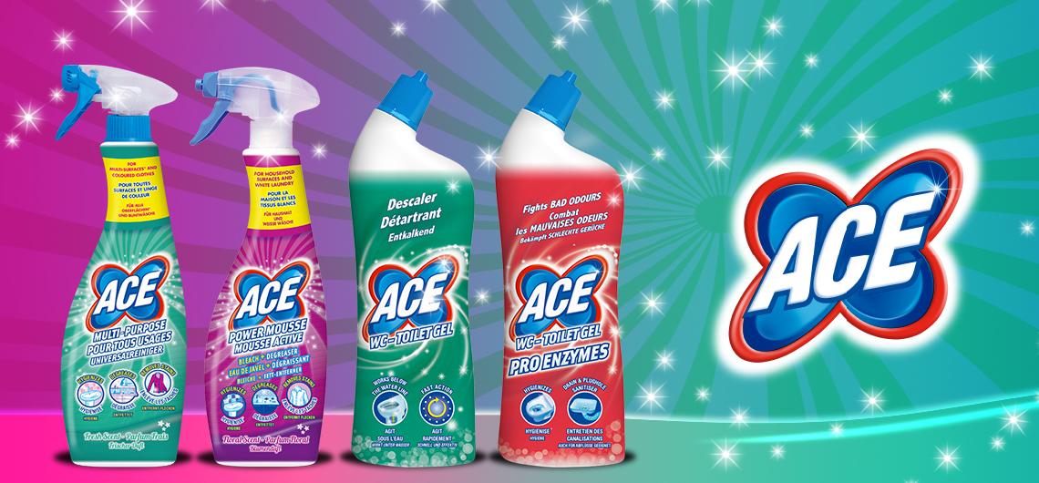 ACE New Generation der Allzweckreiniger für Ihren Haushalt und zur Vorbehandlung Ihrer Weiß- und Buntwäsche